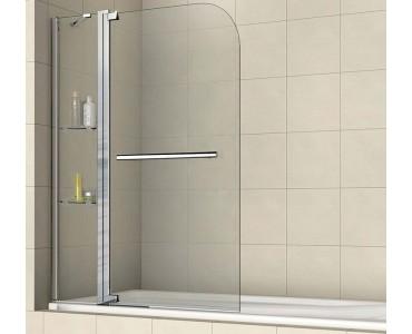 Шторка на ванну распашная маятниковая с ручкой полотенцедержателем RGW Screens SC-04